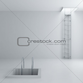 Ladders upwards and downwards in a light room