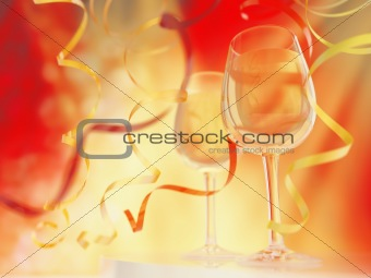 Champagne in glasses on a bright yellow