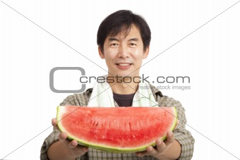 middle age asian farmer holding Watermelon isolated on white