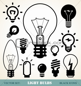 light bulbs icon set