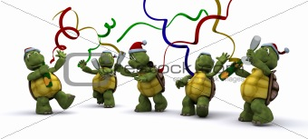 tortoises celebrating at a christmas party