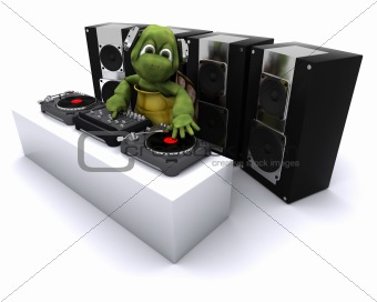tortoise DJ mixing records on turntables