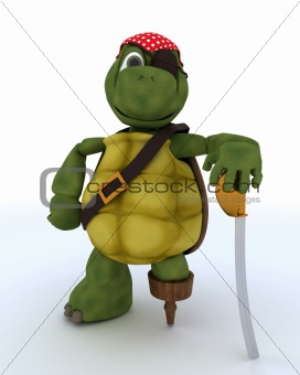 Tortoise dressed as a pirate