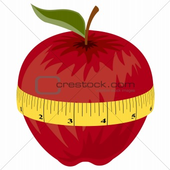 Measuring tape around red apple