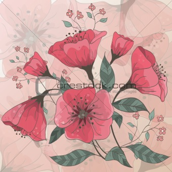 Background with hand drawn flowers. Each element is isolated on a separate layer. EPS 10 vector.