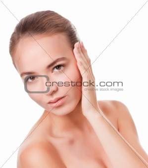 Young woman face on white
