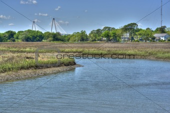 Ocean Landscape with Ravenal Bridge in Charleston, SC