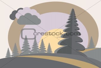firtree hills sun cloud cartoon image
