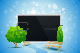 Blue Background with Trees and Tablet Computer