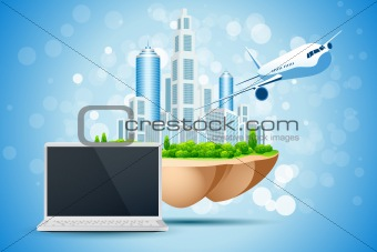 Blue Backgtound with Business City Laptop and Aircraft