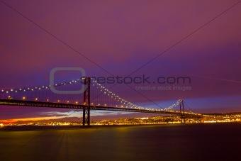 25 de Abril Suspension Bridge in Lisbon at sundown