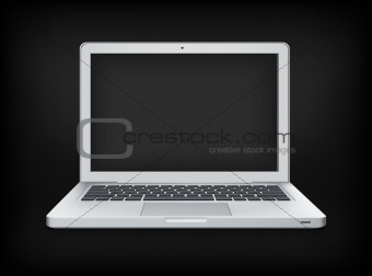 Laptop Isolated on Black Background. Vector Illustration.