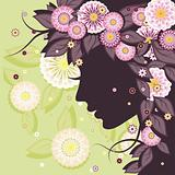 Daisy background with face silhouette