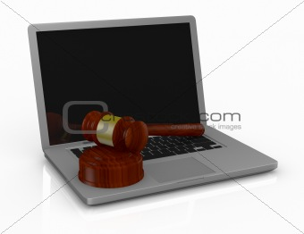 gavel and notebook