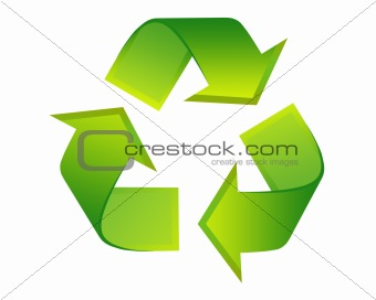 Icon recycle symbol abstract, isolated background white