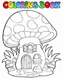 Coloring book mushroom house