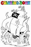 Coloring book with pirate ship 1