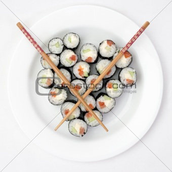 Close-up of maki sushi rolls