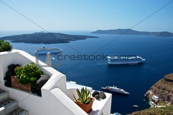 The terraces of the island of Santorini