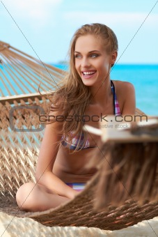 Beautiful woman in hammock