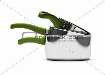 kitchenware, three empty pan over white background with green handle