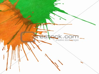 Abstract orange-green watercolor spots
