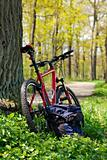 Bike and Backpack against the background of nature in spring