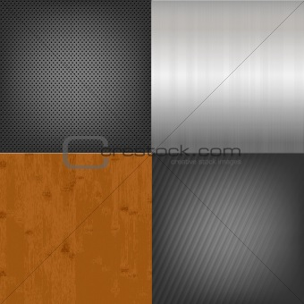Set Of Metal And Wood Texture Background