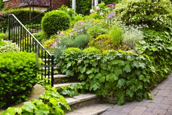 Natural stone garden stairs