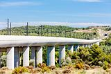 railway viaduct for TGV train near Vernegues, Provence, France
