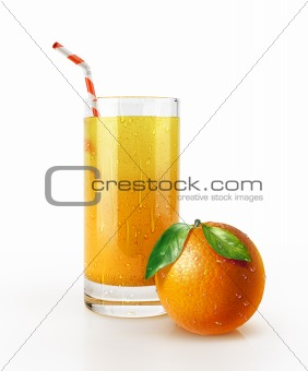 Orange juice glass with straw and a fruit on the floor.