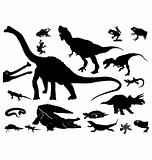 The set of the silhouettes of the reptiles