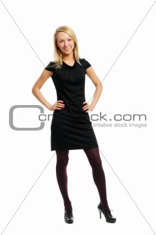 Beautiful young woman stands