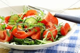 fresh arugula salad with tomatoes, cucumbers in a white plate