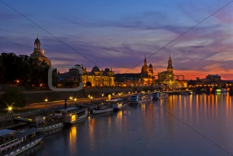 Historical waterfront of Dresden, Germany