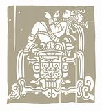 Reclining Mayan Woodblock