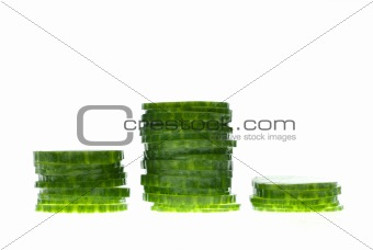 Stacks of cucumber