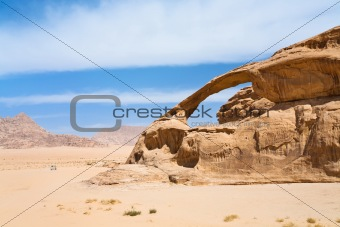 Bridge rock in Wadi Rum dessert