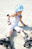 child on in-line rollerblade skate
