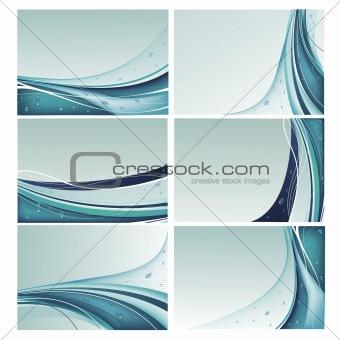 Blue backgrounds vector set