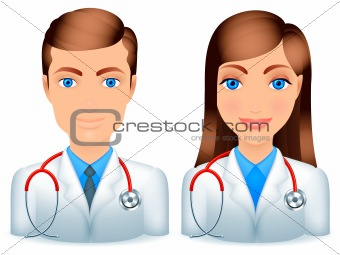 Male and female doctors.