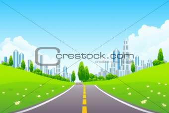 City Landscape with Trees and Road