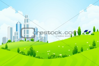 Green Landscape with City and Clouds