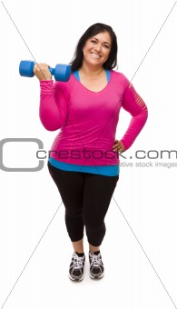 Attractive Middle Aged Hispanic Woman In Workout Clothes Lifting Dumbbell Against a White Background.