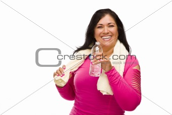 Attractive Middle Aged Hispanic Woman In Workout Clothes with Water Bottle and Towel Against a White Background.