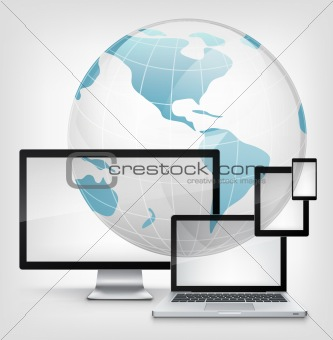 Global Concept. Laptop on Grey Gradient Background. Vector.