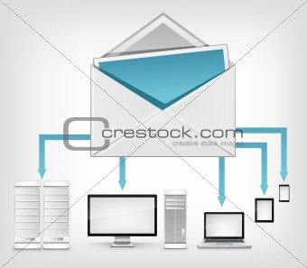 Mail Concept on Grey Mesh Background. Vector.