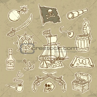 Beautifull llustration of Pirates set  Icons in grunge style