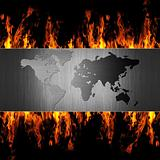 abstract metal world map on fire flame