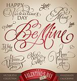 valentine&#39;s hand lettering set (vector)
